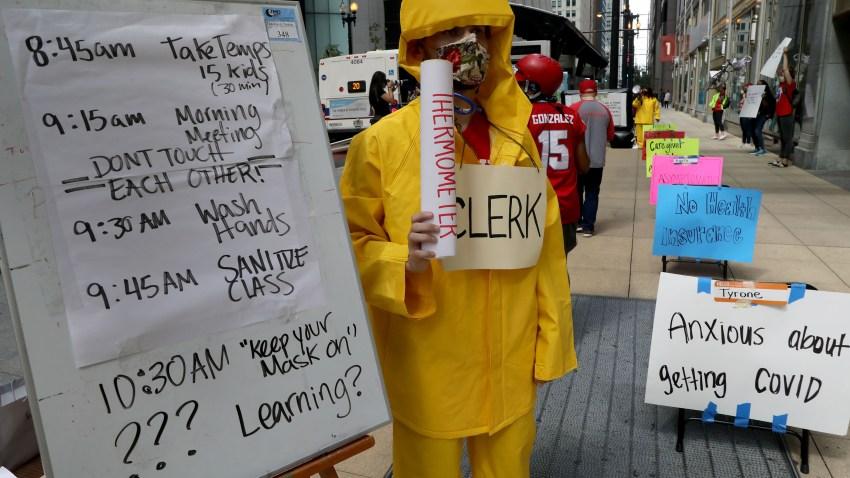Teacher Andrew Van Herik protests outside Chicago Public Schools headquarters