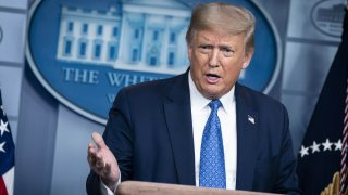 In this July 22, 2020, file photo, U.S. President Donald Trump speaks during a news conference in the James S. Brady Press Briefing Room at the White House in Washington, D.C.