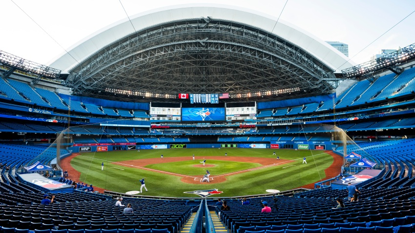 Toronto Blue Jays players take part in an intrasquad game at Rogers Centre on July 9, 2020 in Toronto, Canada