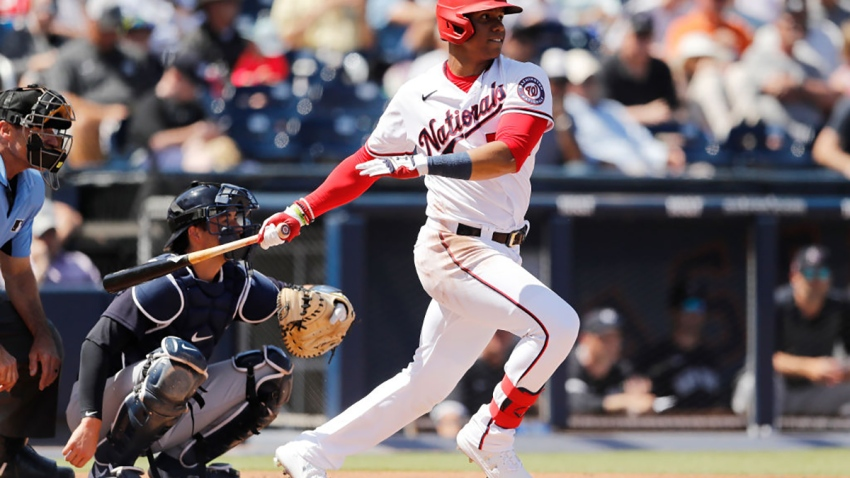 Juan Soto at bat against the New York Yankees during a Grapefruit League spring training game.