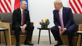 Russian President Vladimir Putin and U.S. President Donald Trump hold a meeting on the sidelines of the G20 summit in Osaka, June 28, 2019.