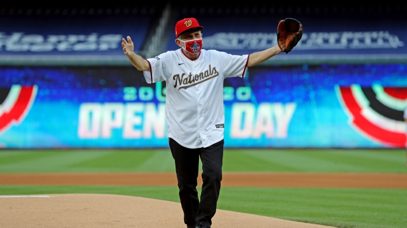 Dr. Anthony Fauci Throws Out First Pitch on Nationals' Opening Day