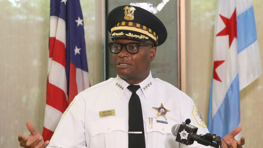 Chicago Police Superintendent David Brown speaks at a news conference on Monday, July 27, 2020 in Chicago. Police are reporting a drop in homicides and shooting incidents after the department rolled out two units designed to combat gun violence and ensure protests remain peaceful. The city reported three homicides over the weekend compared to 12 the weekend before. It was the first weekend that the 300-member Community Safety Team was dispatched to communities on the West and South sides where there has been an uptick in violent crime.