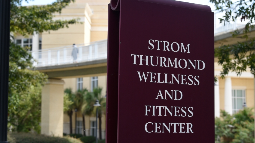 A sign advertises the Strom Thurmond Wellness and Fitness Center on Thursday, Aug. 20, 2020, in Columbia, S.C. Some of the University of South Carolina's most prominent recent athletes are calling for the renaming of the $38.6 million complex, arguing that its namesake shouldn't be glorified for his segregationist views.