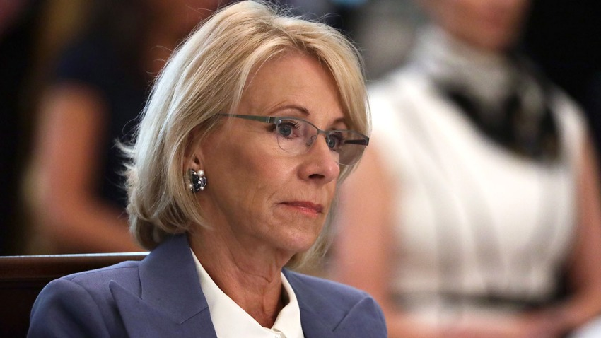 U.S. Secretary of Education Betsy DeVos listens during a cabinet meeting in the East Room of the White House on May 19, 2020, in Washington, D.C.
