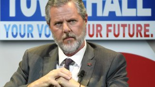"In this file photo, Liberty University President Jerry Falwell Jr. participates in a town hall meeting on the opioid crisis as part of first lady Melania the first lady's ""Be Best"" initiative at the Westgate Las Vegas Resort & Casino on March 5, 2019 in Las Vegas, Nevada."