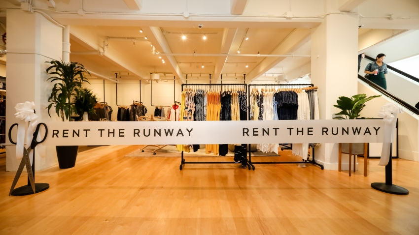 A general view of the ribbon before the launch of Rent the Runway's West Coast flagship store on May 8, 2019, in San Francisco, California.