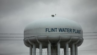 The Flint Water Plant tower stands in Flint, Michigan, U.S., on April 13, 2020.