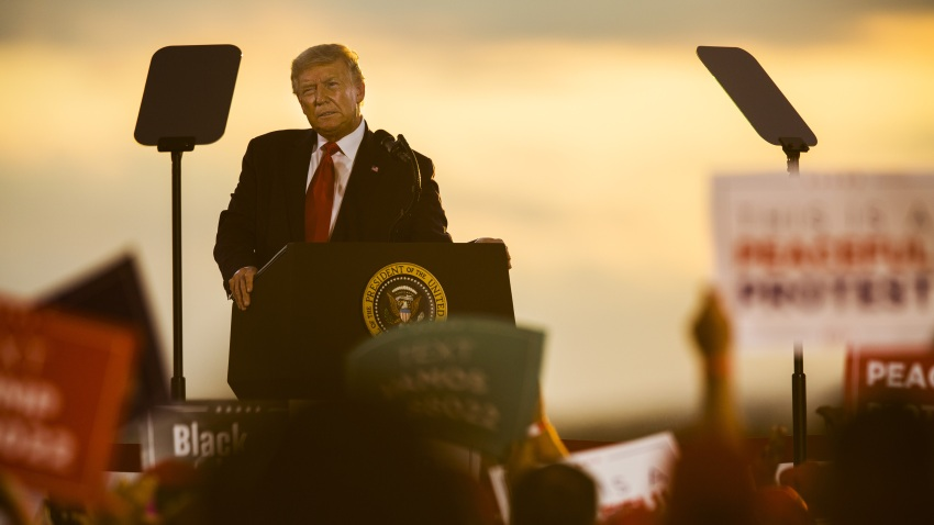 U.S. President Donald Trump speaks during a campaign rally at the Pro Star Aviation hangar in Londonderry, New Hampshire, U.S., on Friday, Aug. 28, 2020. Trump took aim at people protesting racism and police brutality, saying they are just looking for trouble and dont know about the killing of a Black man at the hands of police in Minneapolis that led to demonstrations nationally.