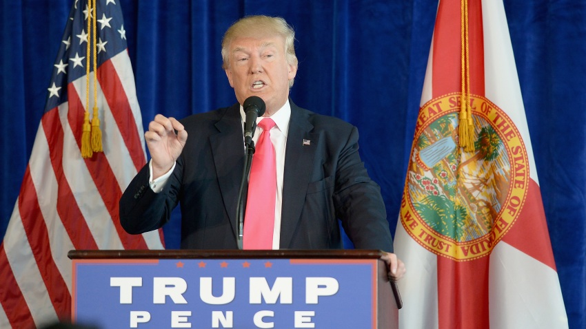Republican presidential candidate Donald Trump holds a press conference at Trump National Doral on July 27, 2016 in Doral, Florida. Trump spoke about the Democratic Convention and called on Russia to find Hillary Clinton's deleted e-mails.