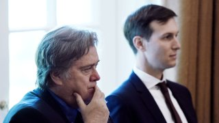 Steve Bannon, chief strategist for U.S. President Donald Trump, left, and Jared Kushner, senior White House adviser, listen during a meeting with U.S. President Donald Trump, not pictured, and Cabinet members at the White House in Washington, D.C., U.S., on Monday, June 12, 2017. U.S.