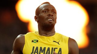 Usain Bolt looks at the big screen to see he has finished 3rd in the mens 100m final during day two of the IAAF World Athletics Championships 2017 at the Olympic Stadium on August 5th 2017 in London