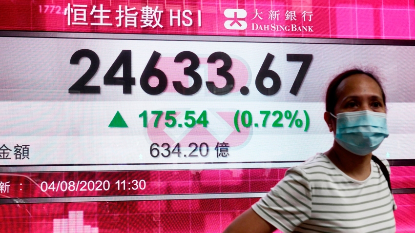 In this Aug. 4, 2020, file photo, a woman wearing a face mask stands by a bank's electronic board showing the Hong Kong share index at Hong Kong Stock Exchange.