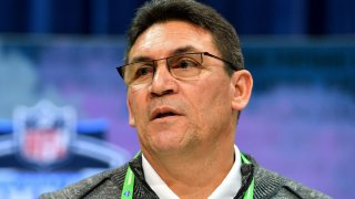 Washington Football Team head coach Ron Rivera interviews during the second day of the 2020 NFL Scouting Combine at Lucas Oil Stadium Feb. 26 in Indianapolis.