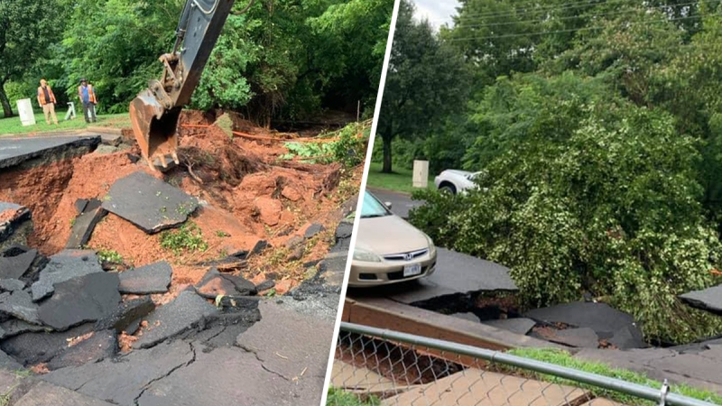 Photos: Heavy Rains Open Sinkhole in Manassas Park