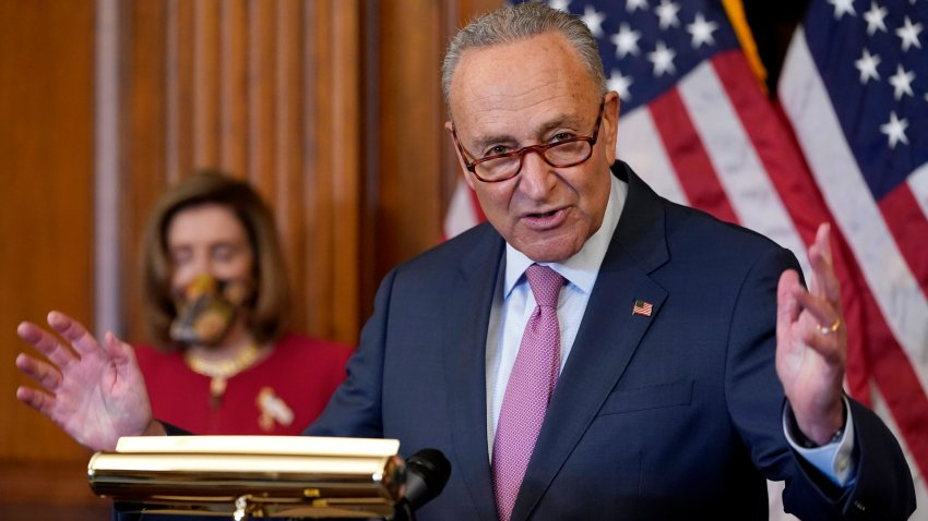 Senate Minority Leader Sen. Chuck Schumer of N.Y., right, speaks next to House Speaker Nancy Pelosi of Calif., during a news conference about COVID-19, Thursday, Sept. 17, 2020, on Capitol Hill in Washington.