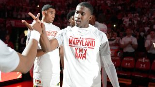 Darryl Morsell is introduced before a game against Michigan at the Xfinity Center March 8, 2020.