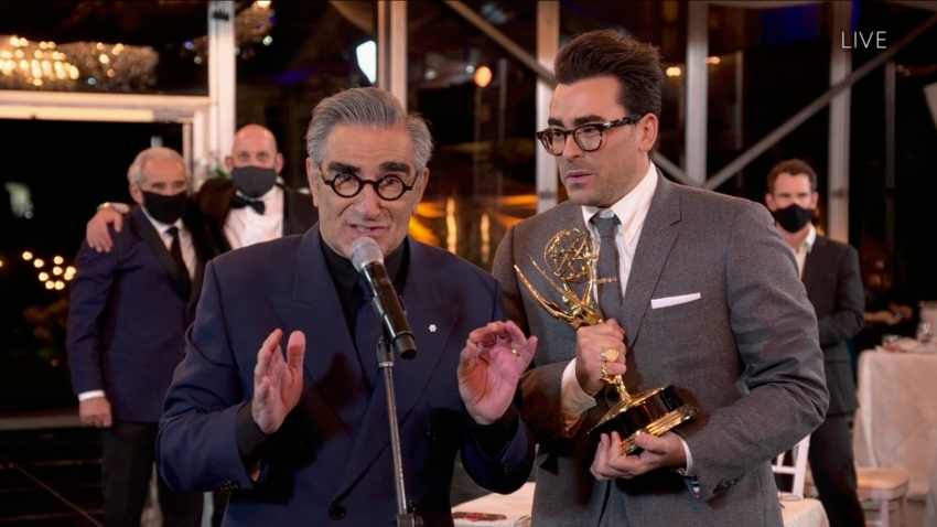 "Eugene and Dan Levy accept an Emmy Award for their show ""Schitt's Creek"" at the ""72nd Emmy® Awards."""