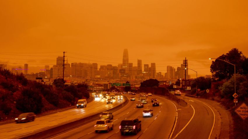 San Francisco highway is seen with orange glow as a result of wildfires