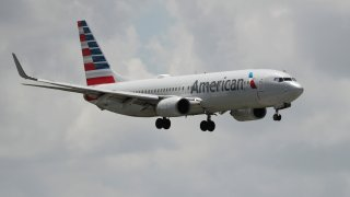 American airlines plane in the air