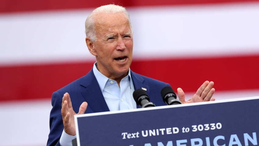 In this Sept. 9, 2020, file photo, Democratic presidential nominee and former Vice President Joe Biden delivers remarks in the parking lot outside the United Auto Workers Region 1 offices in Warren, Michigan.