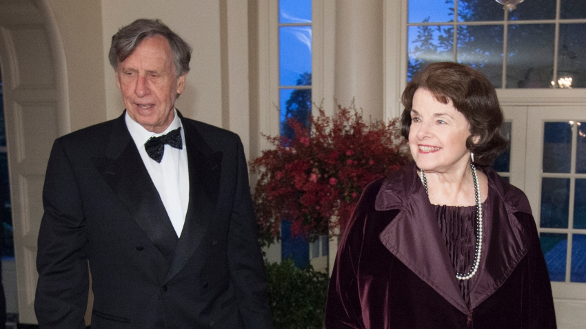 Dianne Feinstein, U.S.Senator and Richard Blum arrive at the State Dinner for China's President President Xi