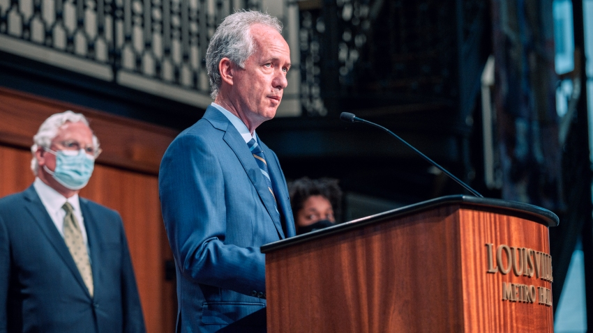 Louisville Mayor Greg Fischer speaks at a press conference at City Hall on September 15, 2020, in Louisville, Kentucky.