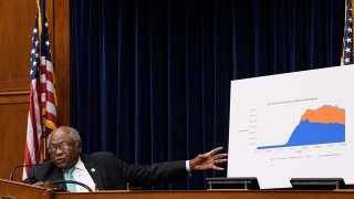 House Select Subcommittee on the Coronavirus Crisis chair Rep. James Clyburn (D-S.C.) points to a chart as U.S. Treasury Secretary Steven Mnuchin testifies before the subcommittee on Capitol Hill in Washington, D.C., Sept. 1, 2020.