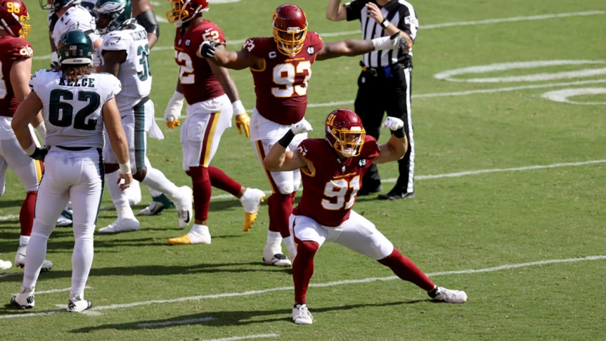 Ryan Kerrigan, #91, celebrates after a play against the Philadelphia Eagles Sept. 13, 2020.