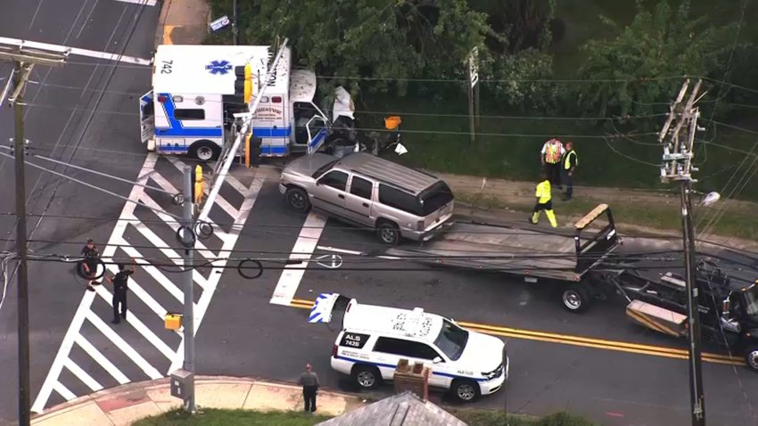 An ambulance was involved in a crash in Wheaton, Maryland.