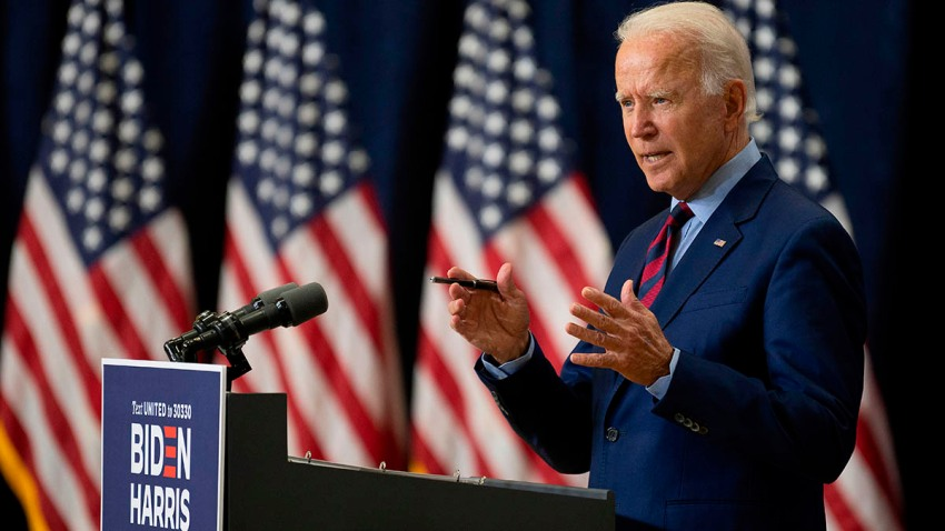 Democratic presidential candidate and former U.S. Vice President Joe Biden speaks on the state of the economy, Sept. 4, 2020, in Wilmington, Delaware.