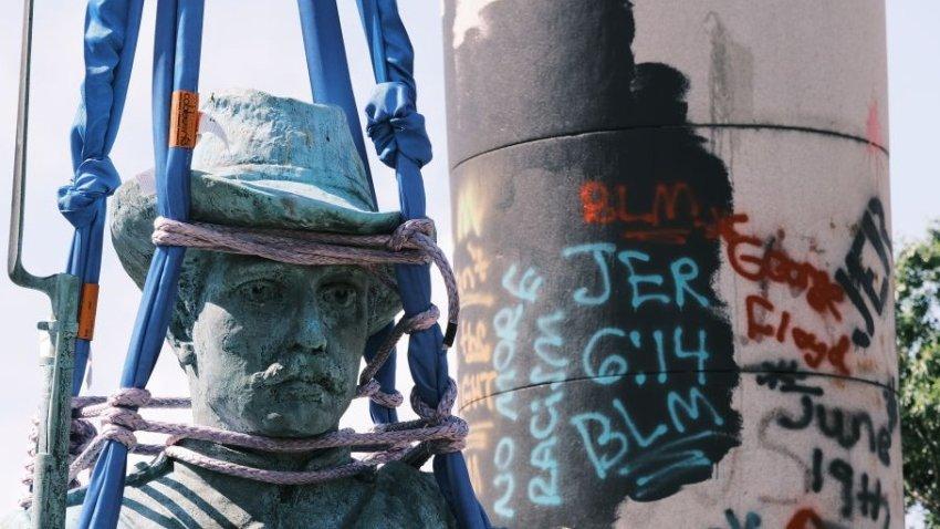 confederate statue and graffiti richmond