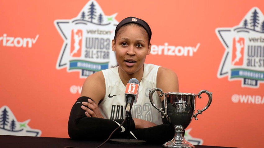 Maya Moore talks to the media after the Verizon WNBA All-Star Game on July 28, 2018, at the Target Center in Minneapolis, Minnesota.