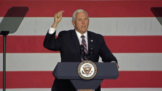 Vice President Mike Pence speaks at a rally in New Hampshire