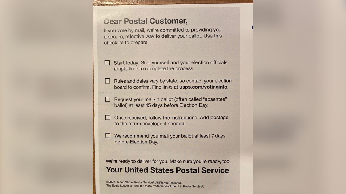 Maryland Officials Note 'Inconsistent' USPS Voting Postcard