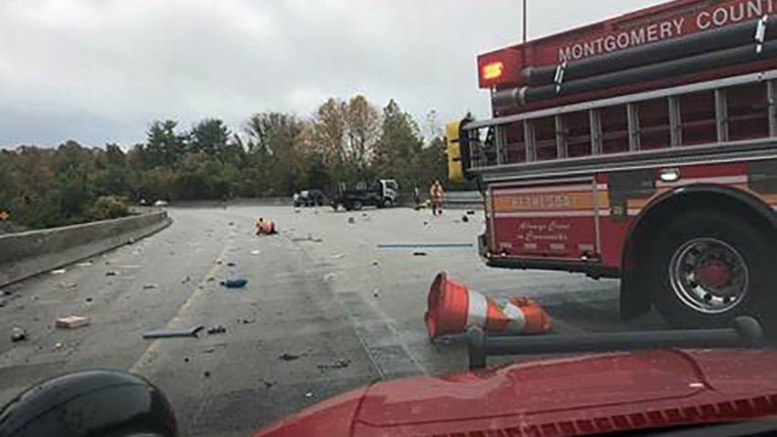 A work truck crashed on the Beltway in Bethesda.