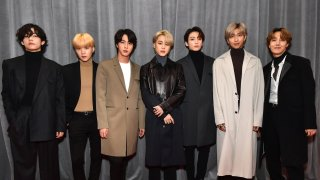 In this Jan. 26, 2020, file photo, South Korean K-pop group BTS attends the 62nd Annual GRAMMY Awards at STAPLES Center in Los Angeles, California.