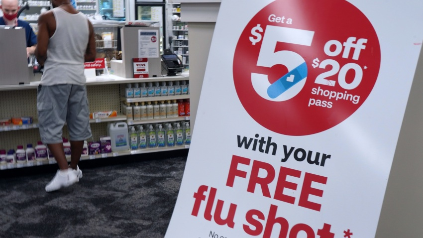 A sign advertising free flu shots is seen at a CVS Pharmacy