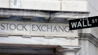 New York Stock Exchange Building and Wall Street Sign