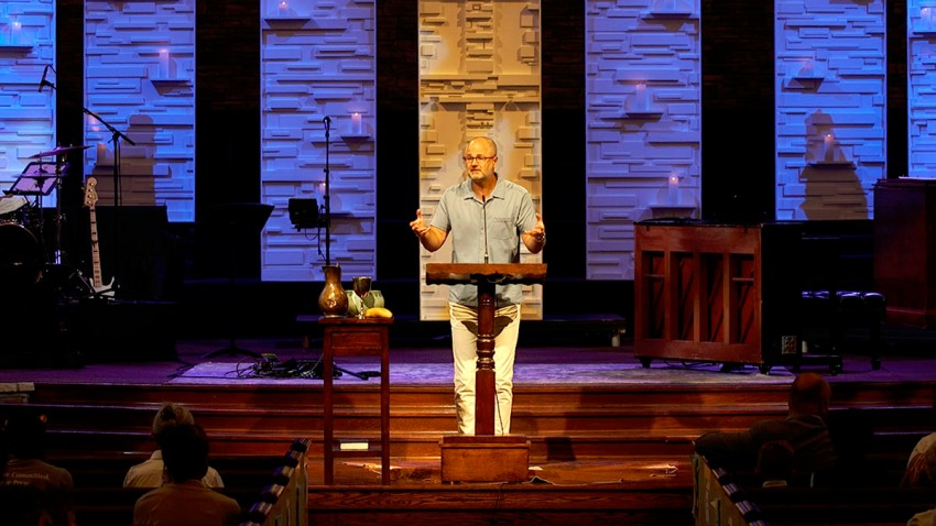 In this Aug. 23, 2020, photo provided by Steve NeSmith, Scott Sauls, senior pastor at Christ Presbyterian Church, preaches to his congregation in Nashville, Tenn.