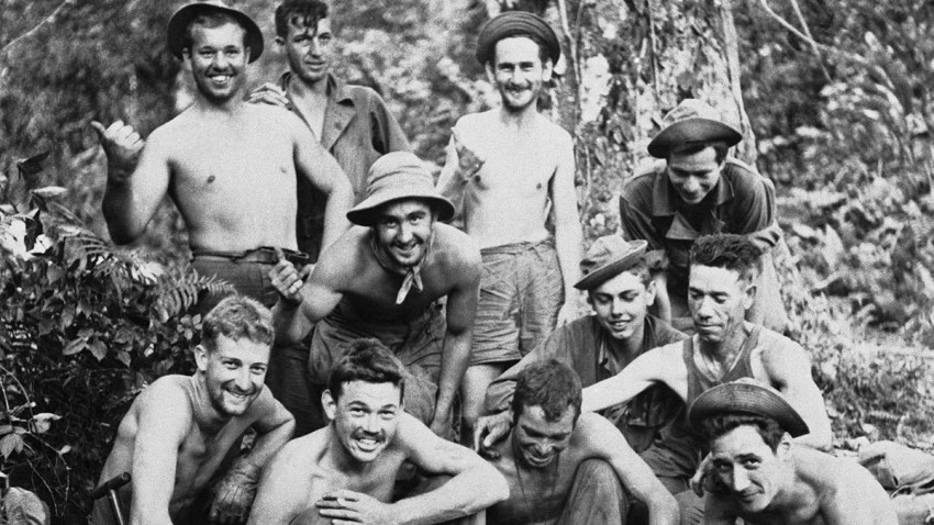"FILE - In this April 3, 1944, file photo, a jungle fighting outfit known as ""Merrill's Marauders,"" pose for a photo in North Burma, now known as Myanmar. The World War II unit that spent months marching and fighting behind enemy lines in Burma has been approved to receive Congress' highest honor."