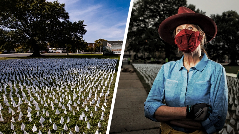 Photos: Artist Installs More Than 200,000 Flags in DC, Symbolizing COVID-19 Deaths