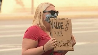 A protester with the teachers union