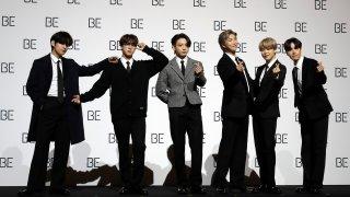 Members of South Korean K-pop band BTS