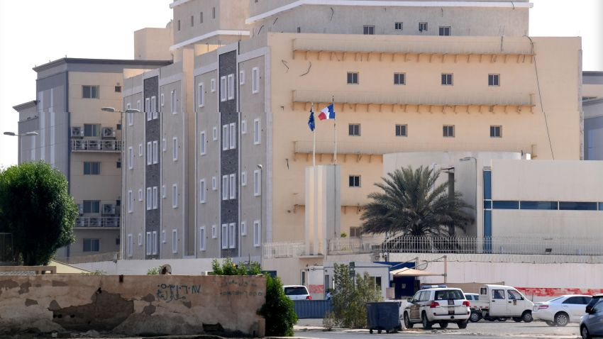 In this Oct. 29, 2020, file photo, the French consulate in the Saudi Red Sea port of Jeddah is seen from a distance.