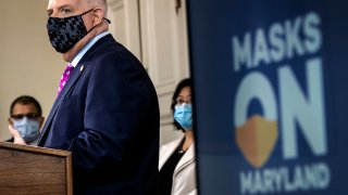 Maryland Governor Larry Hogan holds a press conference to address COVID-19 concerns, on November 17 in Annapolis, MD.