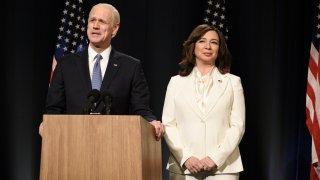 "Jim Carrey as Joe Biden and Maya Rudolph as Kamala Harris during the ""Biden Victory"" Cold Open on ""Saturday Night Live"" on Saturday, November 7, 2020."