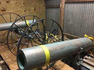 The Dahlgren howitzers in storage
