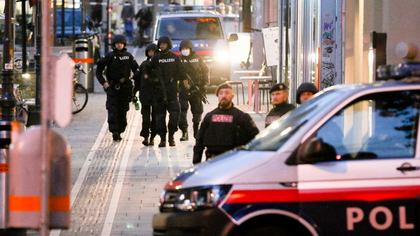 Following gunfire on people enjoying a last evening out before lockdown, police patrol at the scene in Vienna, early Tuesday, Nov. 3, 2020.