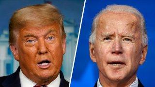 President Donald Trump (left) and Democratic presidential nominee Joe Biden (right).